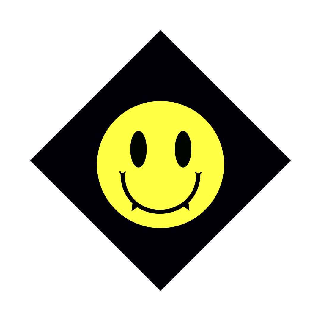 full color rave. logo, black hazard diamond with a yellow smiley face