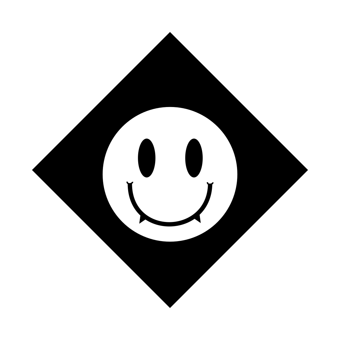 black and white rave. logo, black hazard diamond with a white smiley face